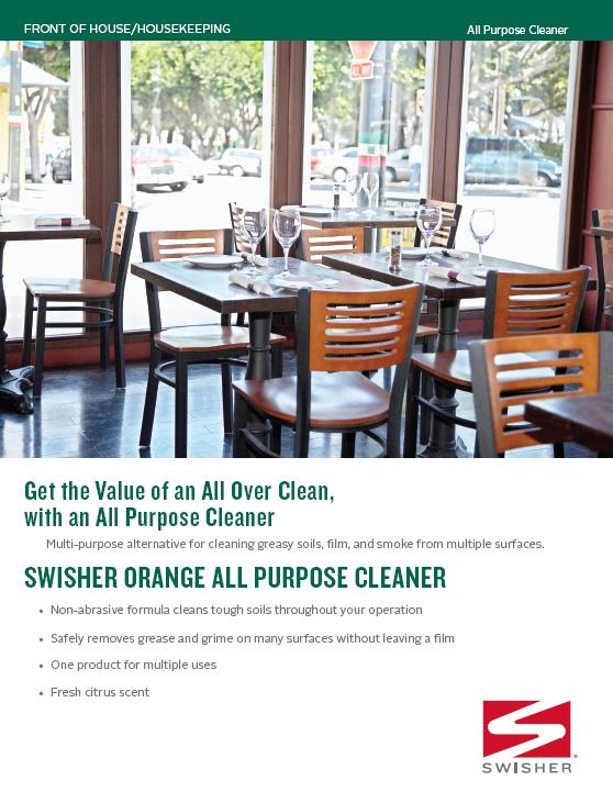 Swisher Orange All Purpose Cleaner Sell Sheet - Restaurant table cleaner